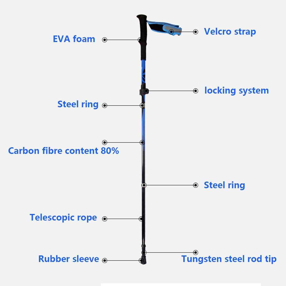 Koraman Folding Carbon Steel Fiber Trekking Poles Alpenstock Light Tip Ring Sleeve Diagram Weight67oz 190g Collapsible Adjustable Anti Shock Hiking Walking