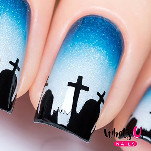 Whats Up Nails - Graveyard Nail Stencils Stickers Vinyls for Nail Art Design (1 Sheet, 20 Stencils) (Halloween Nail Designs Toes)
