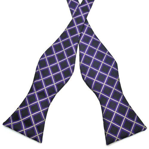Pensee Mens Self Bow Tie Black & Purple & Grey Plaids Jacquard Woven Silk Bow Ties