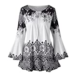 Goddessvan Plus Size Tops, Womens Flare Sleeve Blouses Ruched Front Lace up T-Shirts