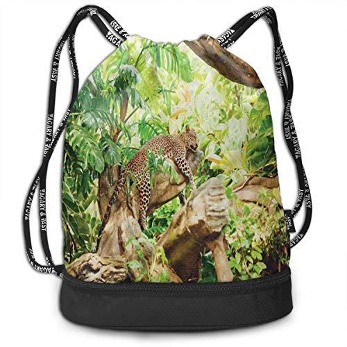 - Drawstring Backpack bags, Leopard On The Branch In Savannah Exotic Macro Tropical Leaf Jungle Wild Nature Art