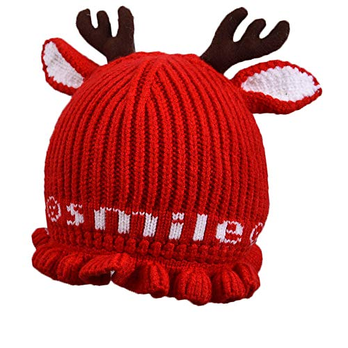 Christmas Reindeer Antlers Beanie Crochet Winter Knit Hat for Toddler Baby Red
