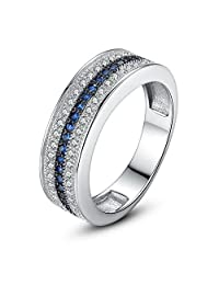 PAHALA White Gold Plated Blue Crystals Cubic Zirconia Pave Wedding Engagement Band Ring