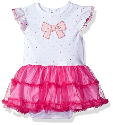Rene Rofe Bow - Rene Rofe Baby Baby Girls' 1 Pc Bodysuit with Rearsnaps and Tulle Skirt, Pink Bow 12 Months