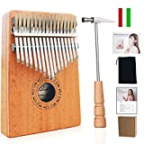 Ranch Kalimba 17 keys Finger Thumb Piano with 5 Free Lessons Mbira Solid Wood Mahogany with Bag/Carved Notation/Tune Hammer/Music Book