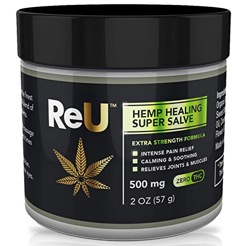 ReU Hemp Healing Pain Relief Salve - 500MG Organic Hemp Extract Cream with Pure Natural Essential Oils - Relieves Inflammation, Muscle, Joint, Back, Knee, Nerve Pain - Made in USA (2 oz)