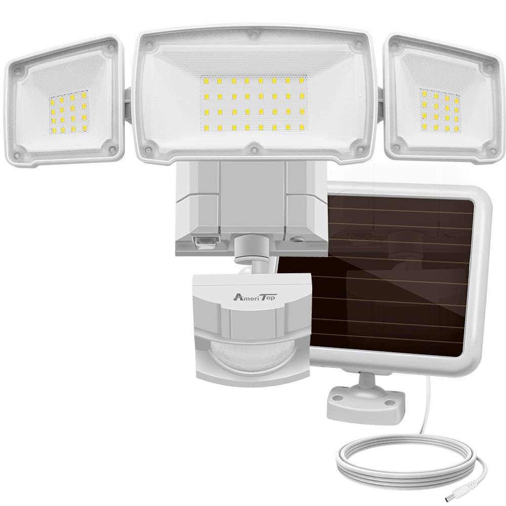 Solar Lights Outdoor, AmeriTop Super Bright LED Solar Motion Sensor Lights with Wide Angle Illumination; 1500LM 5000K, 3 Adjustable Heads, IP65 Waterproof Outdoor Security Lighting