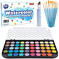 58-Pack Shuttle Art Watercolor Paint Set with 10 Paint Brushes