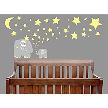 Yellow And Grey Elephant Wall Decals / Elephants Wall Stickers With Yellow  Stars And Moon Wall Part 72