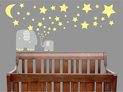 Out Safari Cut Wallpaper (Yellow and Grey Elephant Wall Decals / Elephants Nursery Wall Stickers with Yellow Stars and Moon Wall Decals)