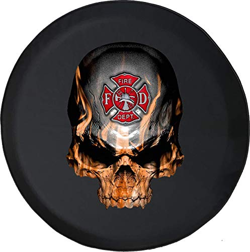 556 Gear Flaming Skull Fire Fighter Maltese Cross Flames Jeep RV Spare Tire Cover Black 35 in