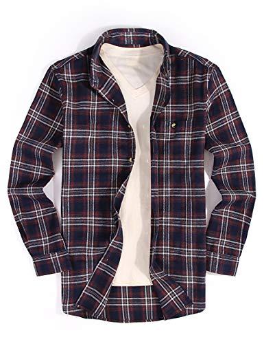 Checker Cotton Dress - Mens Casual Button Down Dress Shirt Long Sleeve Flannel Shirts Regular Fit (Flannel-navy01, S)