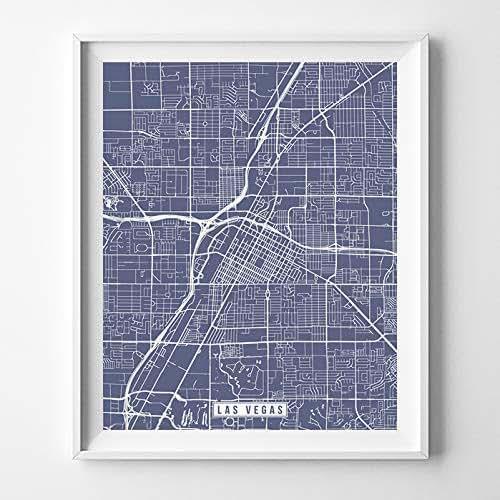 Amazon.com: Las Vegas Nevada Map Print Street Poster City
