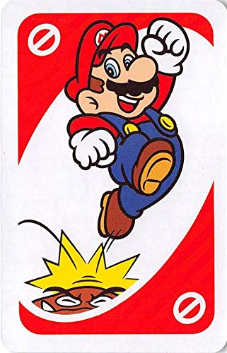 (Super Mario stomping Gumba trading card gaming Nintendo Brothers UNO #G1 back round color varies size 2x3 inches)