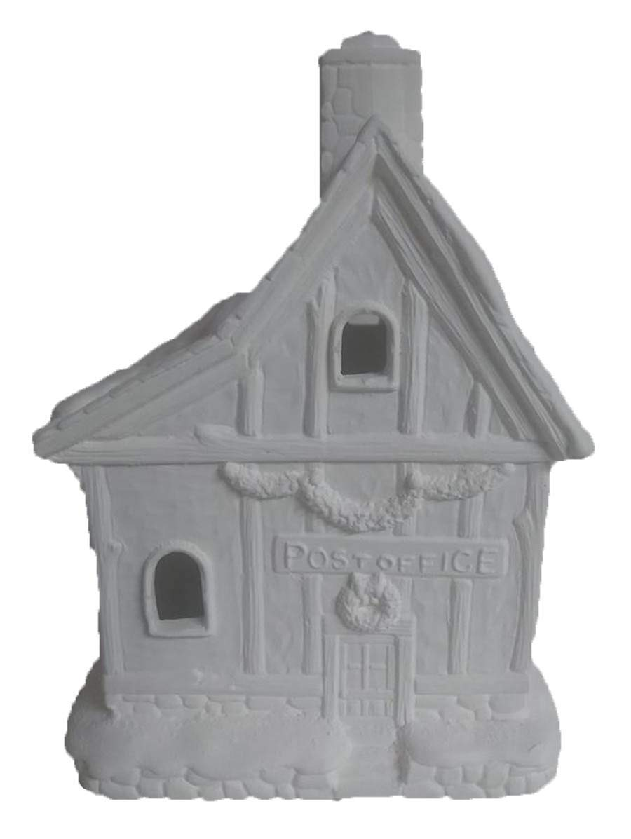 North Pole Post Office 7'' x 6'' x 5'' Ceramic Bisque, Ready to Paint