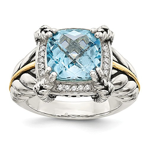 925 Sterling Silver 14k Sky Blue Topaz Diamond Band Ring Size 8.00 Stone Gemstone Fine Jewelry Gifts For Women For Her