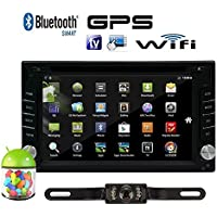 Android 4.4 Double 2 Din Car Stereo GPS DVD Player 6.2 Bluetooth Radio WiFi+Free Back up Camera