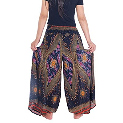 Lannaclothesdesign Womens 37 Inches Length Lounge Palazzo Pants Wide Legs S M L XL Sizes at Women's Clothing store