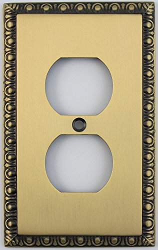 Egg & Dart Antique Brass One Gang Duplex Outlet Wall Plate