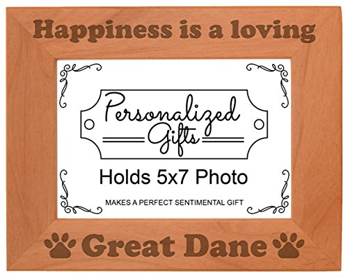 ThisWear Dog Picture Frame Happiness is a Loving Great Dane Accessories Dog Owner Natural Wood Engraved 5x7 Landscape Picture Frame Wood