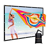 120 inch Outdoor Movie Screen PVC Fabric with Bag, GBTIGER Collapsible Wall/Ceiling Mount Projection Screen, 120 inch Portable 16:9 Indoor Outdoor Home Theater Presentation Projector Screen, PVC
