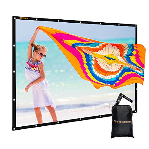GBTIGER 150 inch Outdoor Movie Screen PVC Fabric with Bag, Collapsible Wall/Ceiling Mount Projection Screen, 150 inch Portable 16:9 Indoor Outdoor Home Theater Presentation Projector Screen, PVC