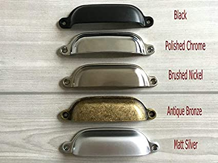 Set Of 1 375 Cup Drawer Pulls Bin Cabinet Pull Chrome Silver