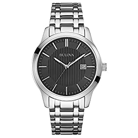 Bulova 96B223 Mens Dress Black Silver Watch