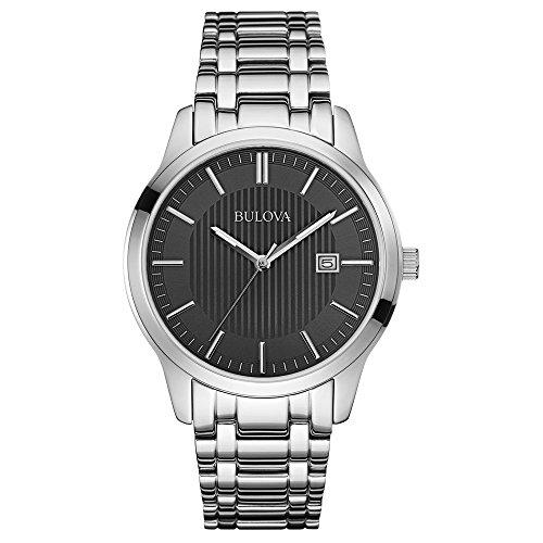 Bulova 96B223 Mens Dress Black Silver Watch