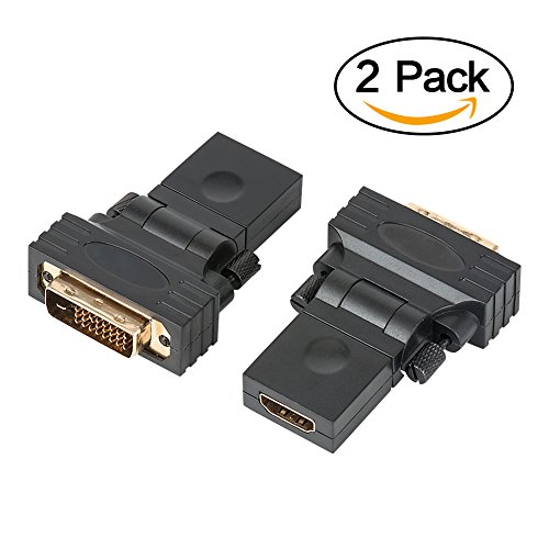 Gold Plated Dual Adapter - DVI to HDMI Converter, VANDESAIL 2 Pack Rotate 90 180 360 degree Dual Link DVI-D 24+1 Male to HDMI Female Adapter 1080P Gold Plated (360 Degree Rotation DVI24+1 to HDMI M/F, 2 pack)