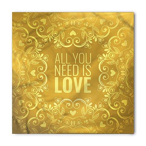 Ambesonne Unisex Bandana, Mandala Romantic Words Swirls, Yellow]()