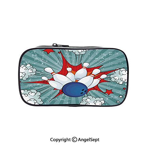 Cute Pencil Case - High Capacity,Retro Comic Cartoon Style Ball Crash Pop Art Blast Stars Aiming Multicolor 5.1inches,Multifunction Cosmetic Makeup Bag,Perfect Holder for Pencils and Pens]()