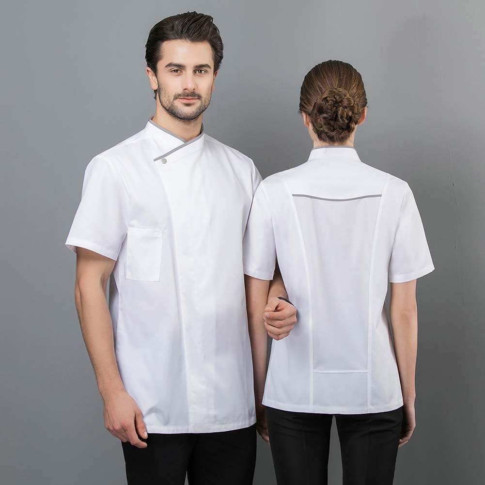 Mujeres Hombres Restaurante Uniforme de Cocina S/ólido de Color Camisa de Cocinero barber/ía Hotel Heart/&M Chaqueta de Manga Corta de Chef