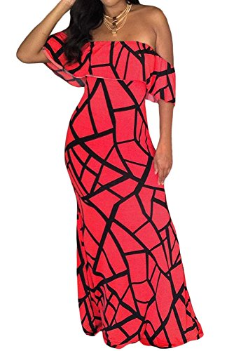 Happy Sailed Women Tendril Print Black Off-The-Shoulder Maxi Dress, X-Large Red