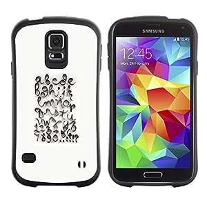 Suave TPU Caso Carcasa de Caucho Funda para Samsung Galaxy S5 SM-G900 / Calligraphy Design White Abc / STRONG