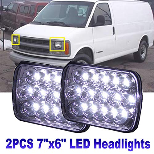 7x6/5x7 LED Headlight Pair Sealed Hi/Lo Beam for 1996-2017 Chevy Express Cargo Van 3500-6000K 45W Super White Light - 2 Year Warranty