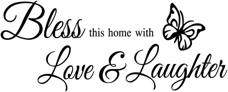 Bless This Home with Love and Laughter Vinyl Wall Decal Quotes Religious Art Letters Room Decor