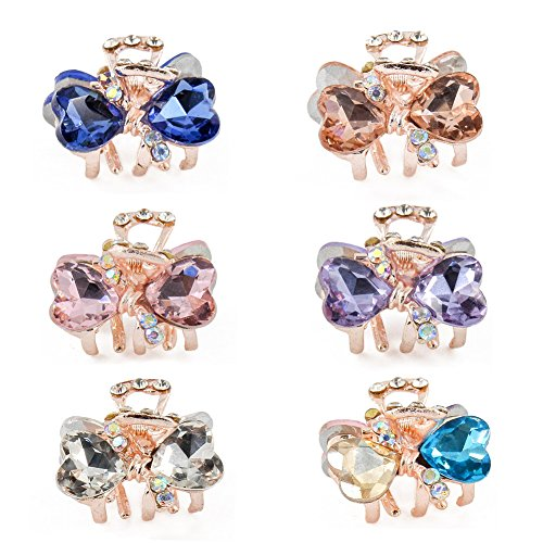 Yeshan Rhinestone and Crystal Small Jaw Claw Hair Clip,Metal Heart Bow Design Barrettes for Women,pack of 6.