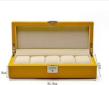 LQH Caja Decorativa joyería Armario de Cuero de la PU del Reloj Caja de Almacenamiento Cuatro