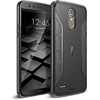 Poetic Karbon Shield Slim Fit LG Stylo 3 Case Cover With Anti-Slip Side Grip and Carbon Fiber Texture for LG Stylo 3 (Will Not Fit LG Stylo 3 Plus) Black