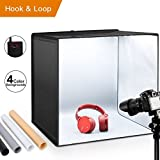 ESDDI Shooting Tent 20''X20''X20''/50x50x50 cm Light Box Photo Studio Portable Folding Hook & Loop Photography Lighting Kit with 120 LED lights Softbox Kit with 4 Colors Backdrops