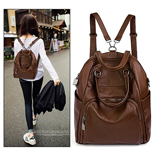 PU UTO Crossbody Convertible Leather Washed Backpack Purse Bag Shoulder Rucksack Women Brown Ladies qp6pR