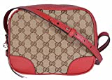 Gucci Women's Canvas Leather GG Guccissima Small Bree Crossbody Purse (Beige/Red)