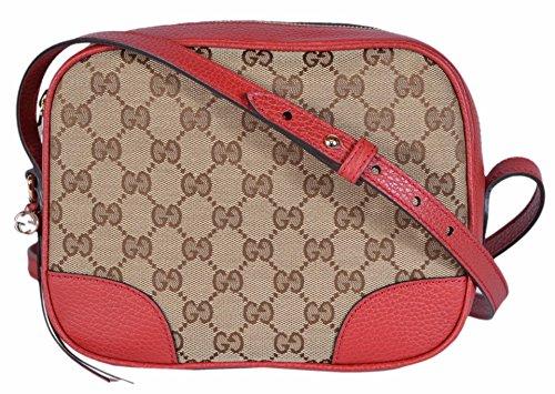 55872e3b6f Gucci Women's Canvas Leather GG Guccissima Small Bree Crossbody Purse  (Beige/Red) | Anna's Collection