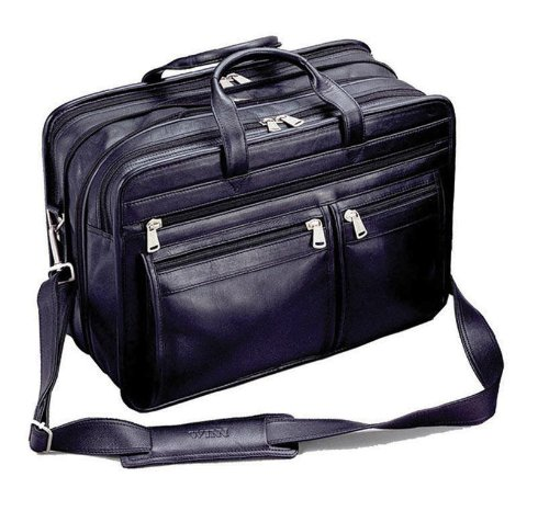 Winn Harness Leather Expandable Brief with Accordion File, (Expandable Organizer Brief Bag)