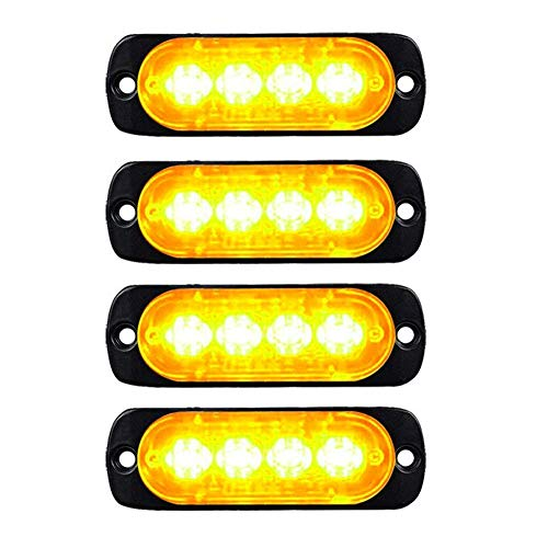 - XT AUTO 4-LED Amber Waterproof Emergency Beacon Flash Caution Strobe Light Bar Surface Mount 16 different flashing Car SUV Pickup Truck Van SUV ATV UTV Jeep 4-pack
