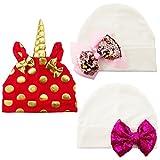 3PCS Cotton Red Unicorn Gifts Preemie Newborn Hospital Hat Bow Nursery Beanie