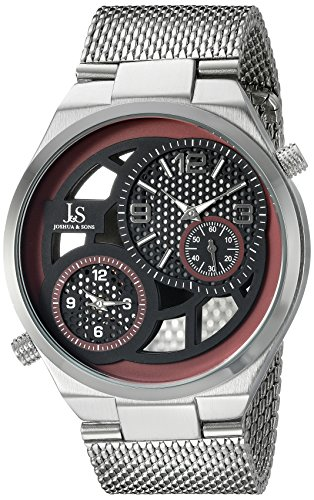 Joshua & Sons Men's JX111RD Silver Dual Time Zone Quartz Watch with Black and Red See Thru Dial and Silver Mesh Bracelet ()