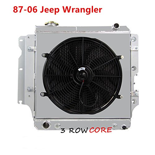 OzCoolingParts 87-06 Jeep Wrangler Radiator Fan Shroud Kit - 56mm 3 Row Core Aluminum Radiator + 16