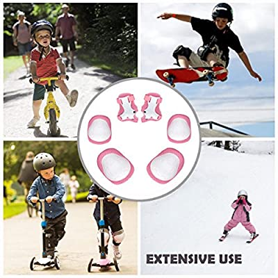 Kid Protective Gear Set, Child Elbow Pads Knee Pads Wrist Guards 6 in 1 Protective Gear Set For Multi Sports Skateboarding Inline Roller Skating Cycling Biking BMX Bicycle Scooter (Pink): Home & Kitchen